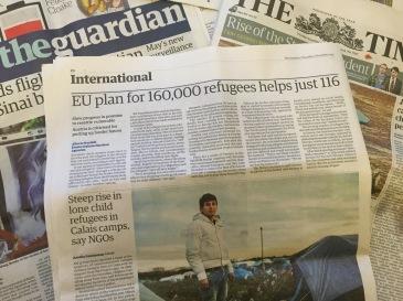 Uutisointia Calais'n siirtolaisleireistä.